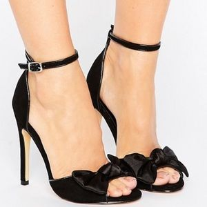 Truffle Collection Black Bow Heel Sandal